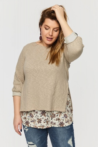 Sweter Linkin Plus Size Beż/Cynamon