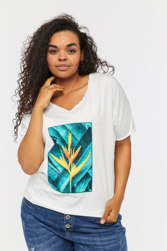 T-shirt Egzotic 2 Plus Size Ekri