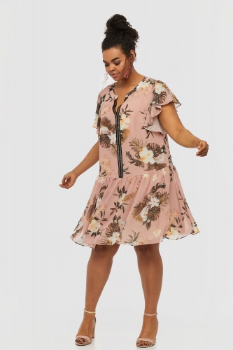 Sukienka Lenor Plus Size Rusted Rose