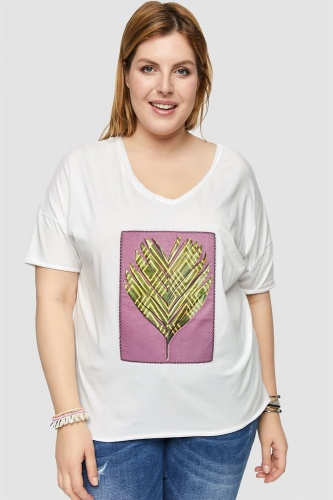 T-shirt Palm Viola 2 Plus Size Ekri