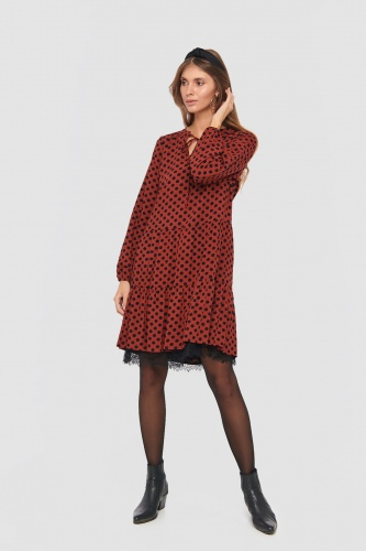 Sukienka Veronida Dots BS Rusted Rose/Black