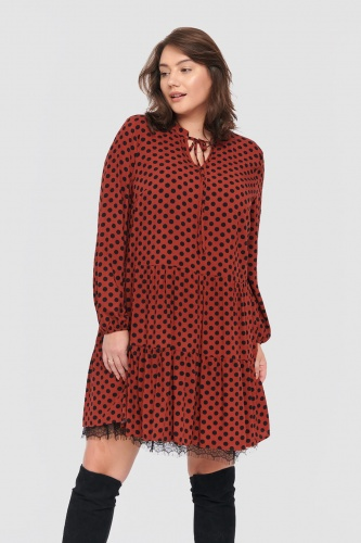 Sukienka Veronida Dots Plus Size Rusted Rose/Black