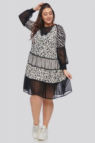 Sukienka Wild Plus Size Black & White