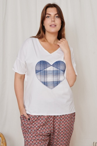T-shirt Heart Blue Plus Size Ekri